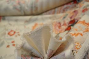 Schurwolle mit Kaschmir - creme mit Blumen