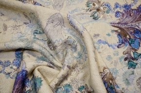 Schurwolle mit Kaschmir - beige/blau