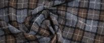 Schurwolle mit Leinen - grau und braun