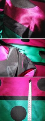 Taft - schwarz, pink und grün