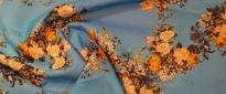 Baumwolle - Blumen auf blau