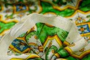 Baumwolle mit Seide - Porzellanmuster, grün