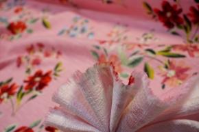 Baumwollstretch - Blumen auf rosa