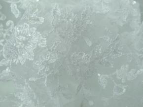 Tüllspitze mit Perlen und Pailletten - weiß