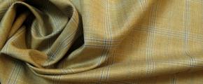 Rest Schurwolle - beige mit Überkaro in bleu