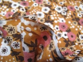 Baumwolle - Blumenmotiv in rost