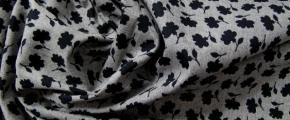 Rest Baumwolle - Blumensilhouette auf grau