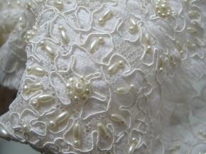 Gimpenborte mit Perlen - elfenbein