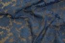 Organza mit Blütenstickerei - blau