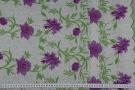 bestickter Tüll - weiß mit lila