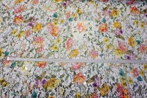 bunt bedruckte Spitze - floral