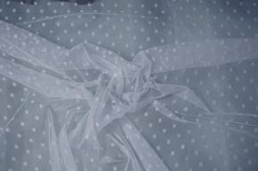 Tüll mit eingewebten Punkten - weiß