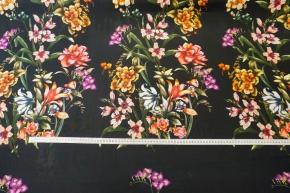 Rest, Viskose - Blumenboque, schwarz
