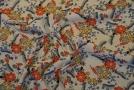 Viskosecrepe - Blumen auf weiß