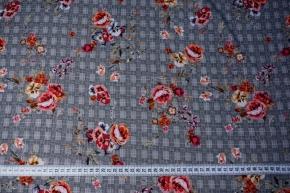 Viskose - Blumen auf schwarz/weiß