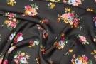 Rest, Viskose - Blumensträuße auf schwarz