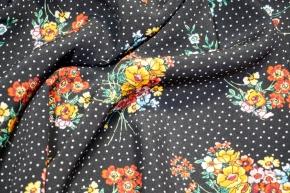 Viskosecrepe - Blumen auf schwarz