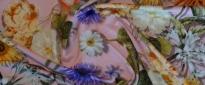 Jersey - Blumen auf rosa