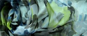 Rest Chiffon - grau, gelb und bleu