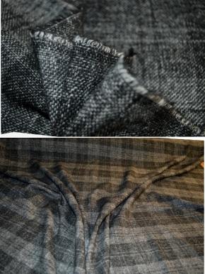 Schurwollmischung - Überkaro in grau
