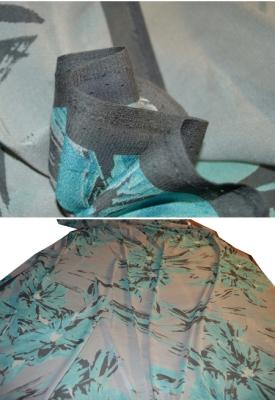 Chiffon in Stretchqualität - grau und türkis